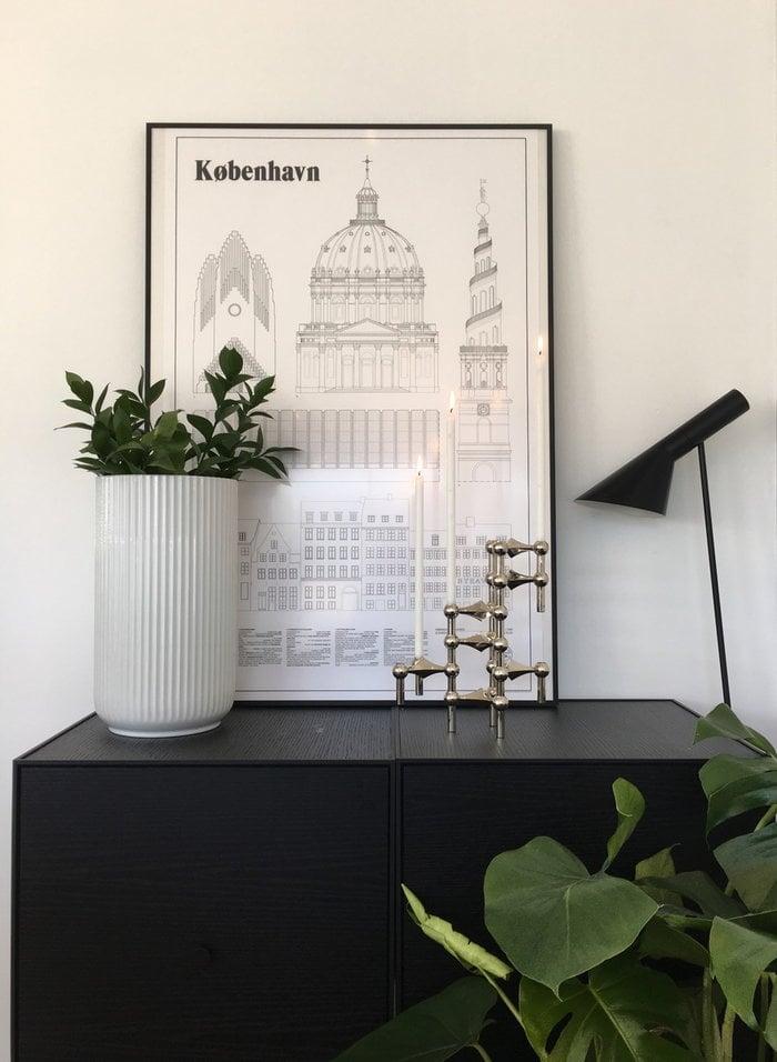 Viherkasvit Joulu Kynttilät By Lassen STOFF Copenhagen Musta Kromi Saarni Metalli Frame