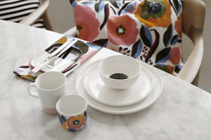 Tablesetting Marimekko White Multi colour Ceramic Cotton Oiva