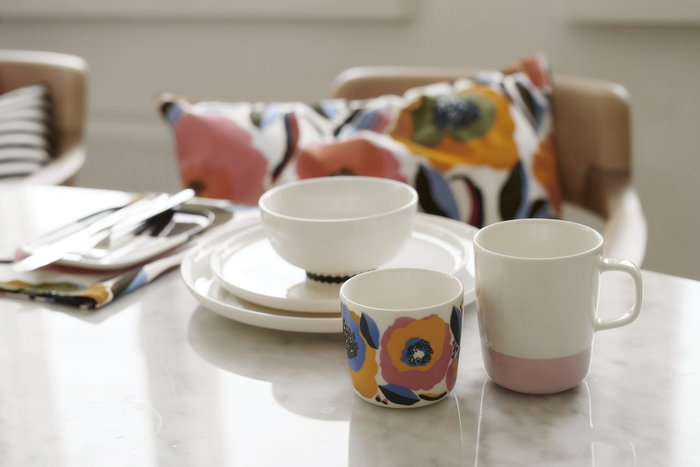 Tablesetting Marimekko Multi colour White Cotton Ceramic Oiva