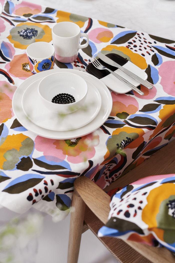 Tablesetting Marimekko White Multi colour Ceramic Cotton Oiva