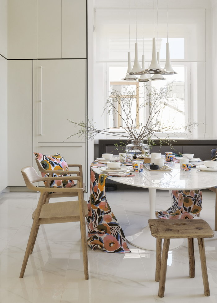 Tablesetting Diningroom Marimekko Clear Multi colour Glass Cotton Ceramic