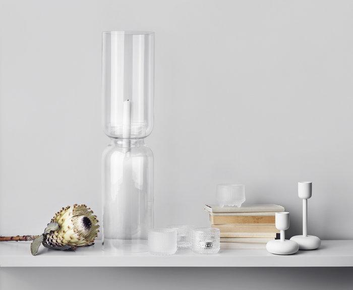Tablesetting Candles Iittala Clear White Glass Steel Lantern Kastehelmi Nappula