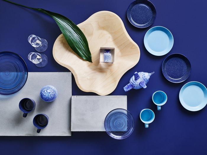 Kattaus Iittala Luonnonväri Sininen Koivu Lasi Keramiikka Aalto Collection Kastehelmi Teema