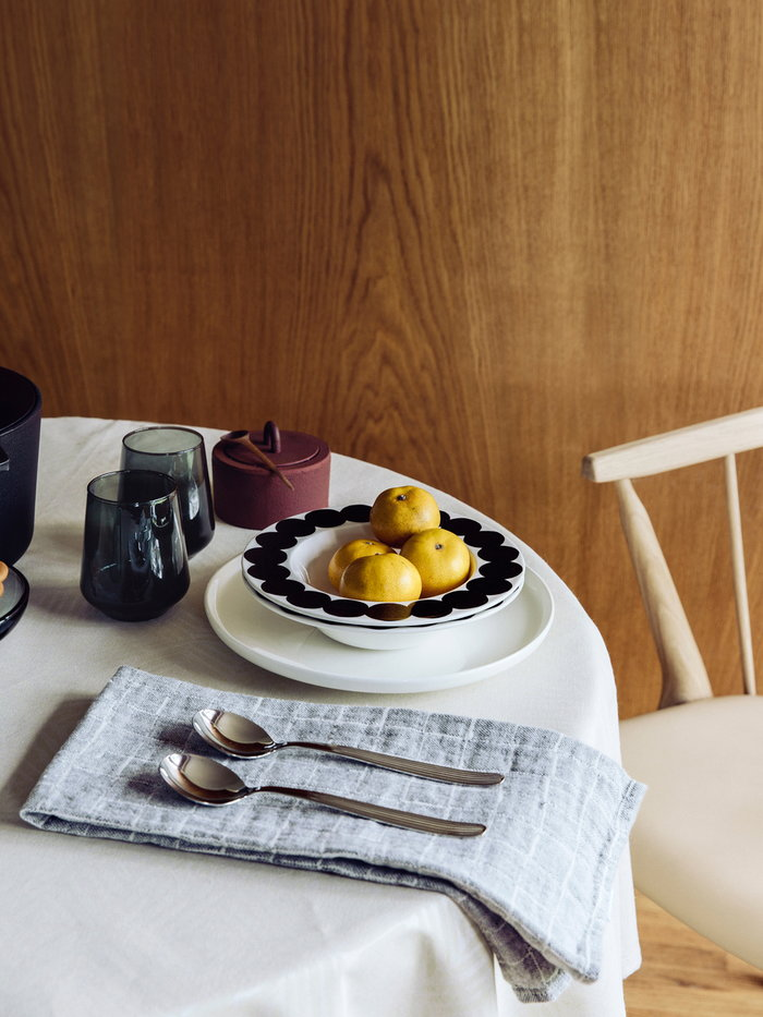 Tablesetting Holidays Antrei Hartikainen Ferm Living Iittala Lapuan Kankurit Marimekko Nature Red Metal Grey White Black Walnut Cast iron Glass Linen Ceramic Essence Oiva Räsymatto