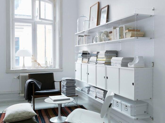 Olohuoneet Lukunurkka Säilytys String Furniture Louis Poulsen Valkoinen Puu String System Panthella