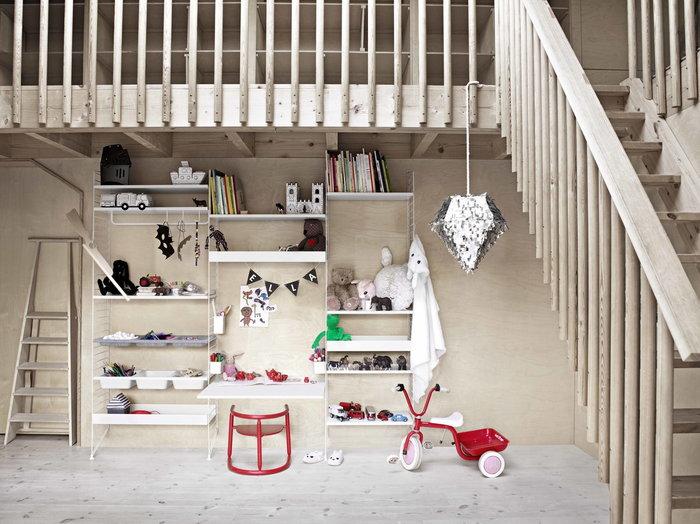 Lastenhuoneet Säilytys String Furniture Valkoinen Harmaa Teräs Puu Huopa Metalli String System