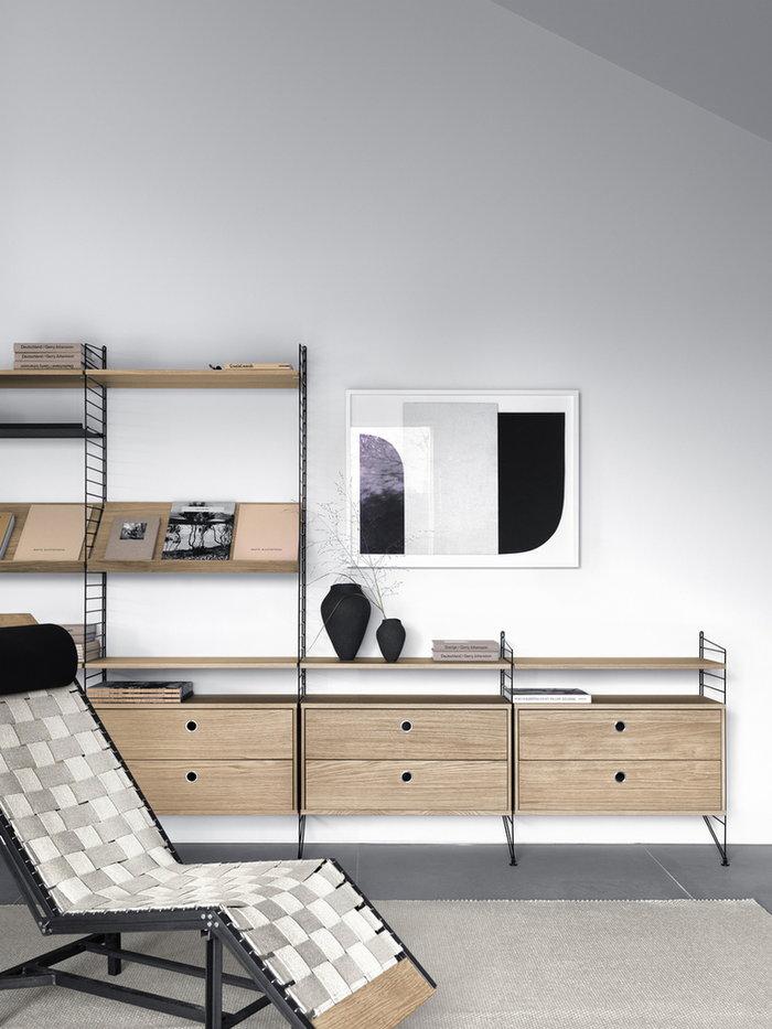 Säilytys String Furniture Luonnonväri Musta Tammi Teräs String System
