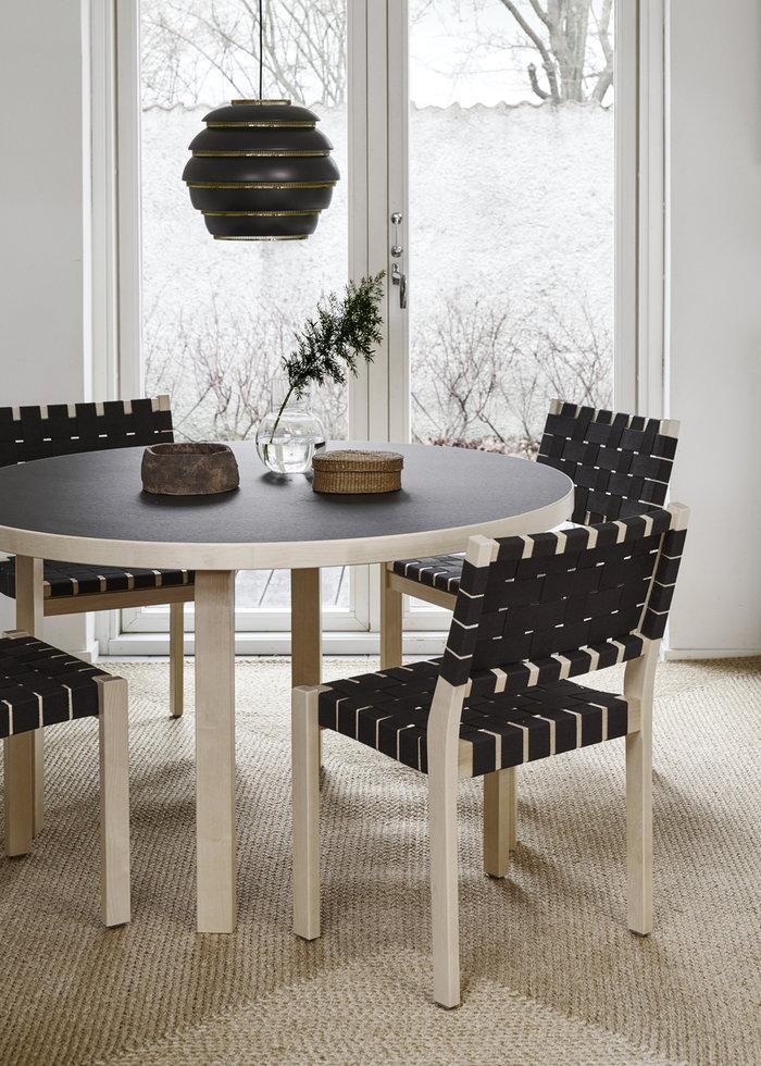 Ruokailutilat Artek Musta Koivu Alumiini Aalto valaisimet