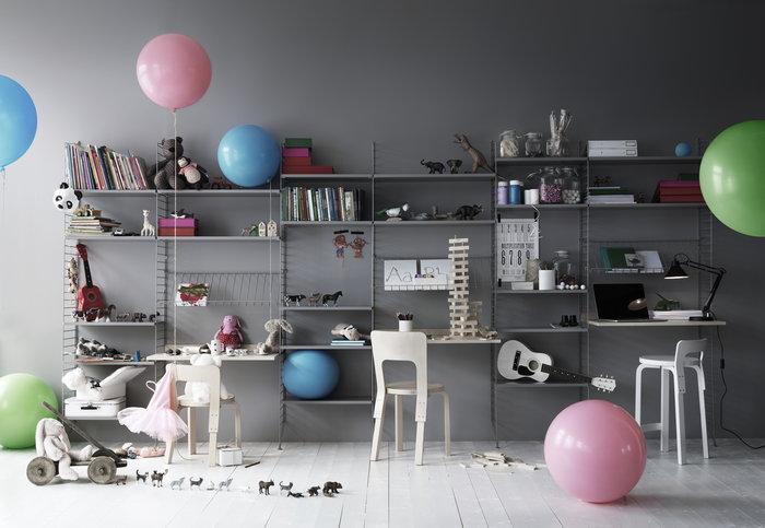 Työpisteet Säilytys Artek String Furniture Luonnonväri Valkoinen Koivu Teräs Puu Metalli Aalto tuolit String System