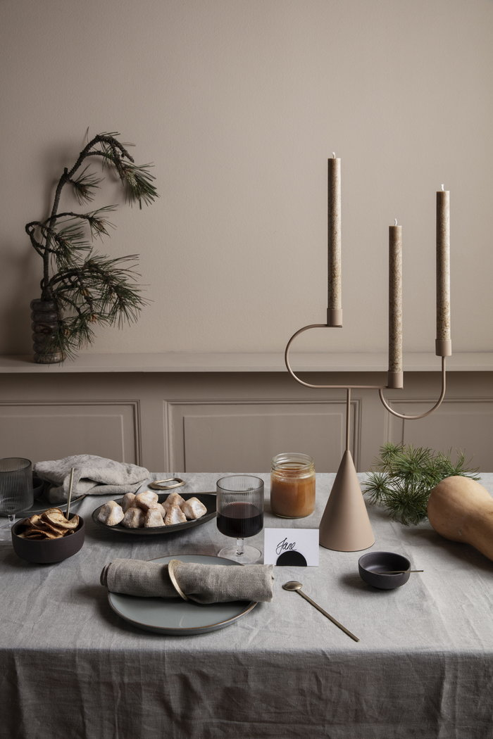 Tablesetting Holidays Ferm Living Black Clear Grey Beige Brass Glass Metal Stainless Steel
