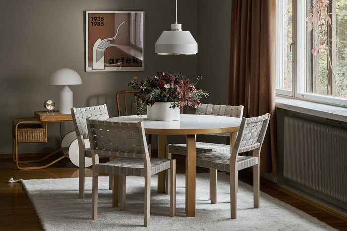 Holidays Diningroom Artek Oluce White Grey Birch Steel Ceramic Glass Aalto trolleys Aalto tables