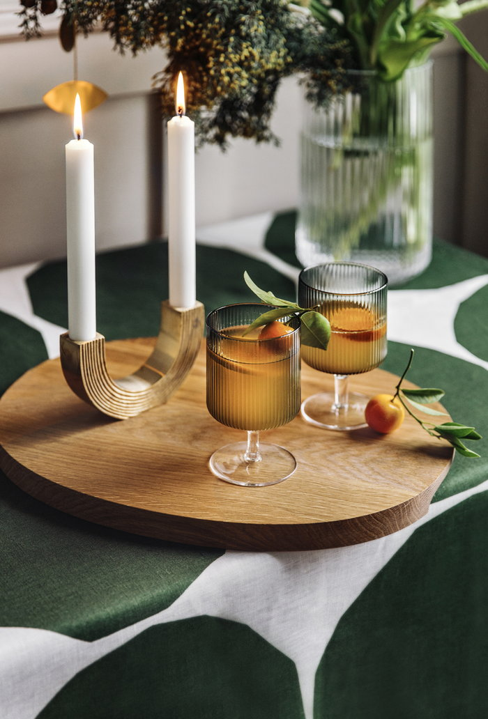 Tablesetting Holidays Candles Ferm Living Iittala Grey Brass Nature Glass Oak