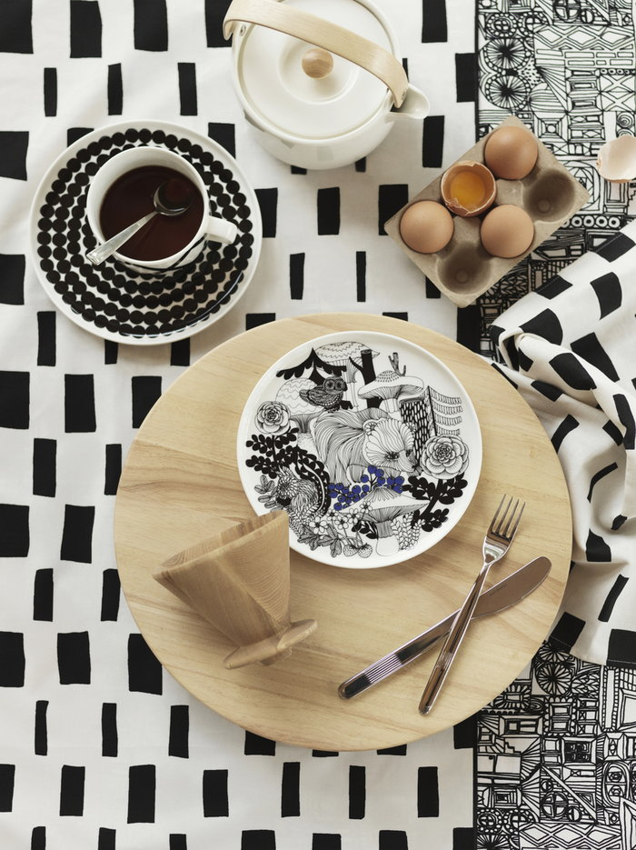 Tablesetting Teamoment Kitchen Marimekko White Black Multi colour Ceramic Cotton Oiva