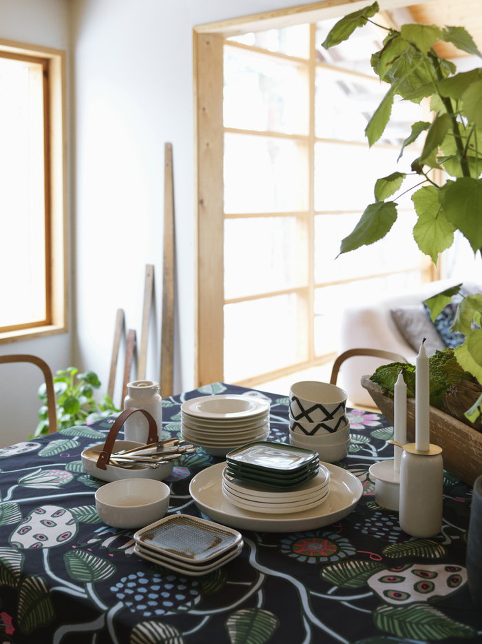 Houseplants Tablesetting Kitchen Marimekko White Multi colour Black Green Ceramic Cotton Oiva