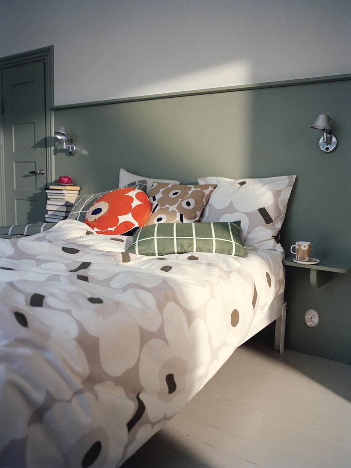 Makuuhuone Marimekko Mintunvihreä Beige Valkoinen Pellava Puuvilla Keramiikka