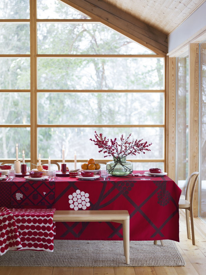 Holidays Diningroom Marimekko Woodnotes Multi colour Green Nature Wool Glass Cotton Oak Siro+