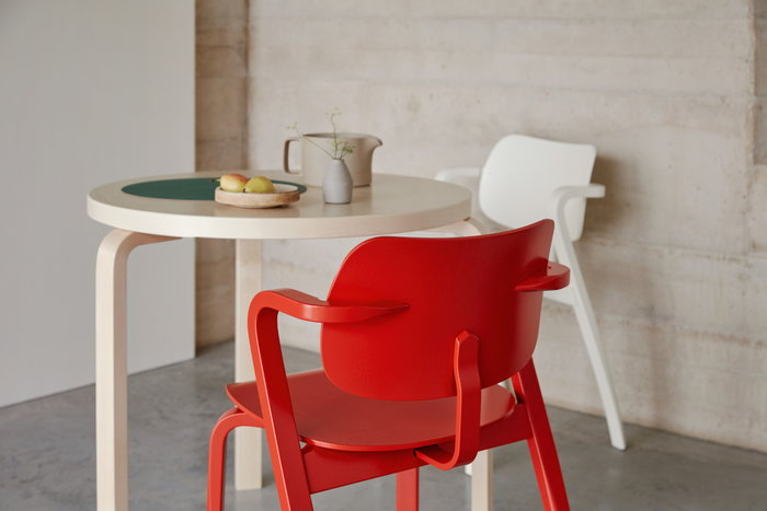 Diningroom Artek White Red Birch Wood Aalto tables