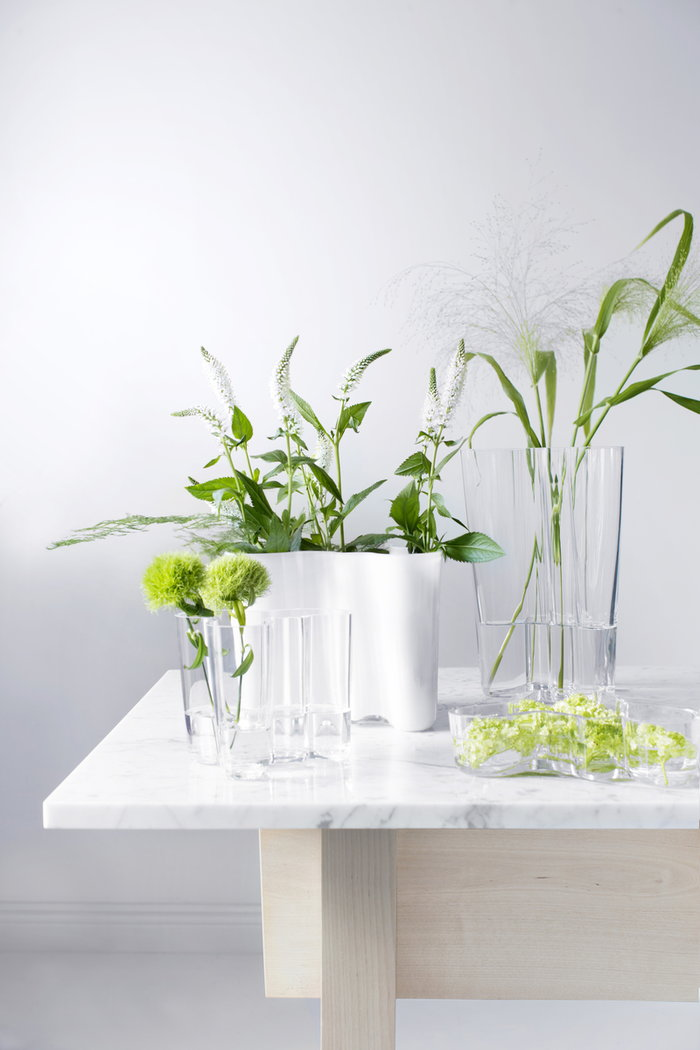 Sisustusyksityiskohta Iittala Kirkas Valkoinen Lasi Aalto Collection