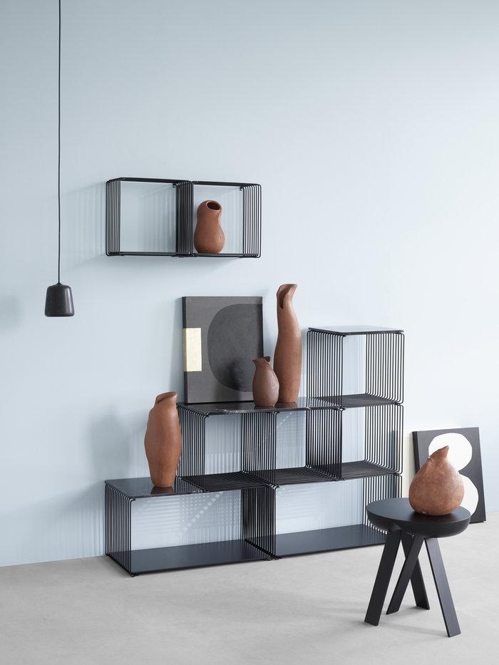 Gestionespazio  Montana Furniture Nero Bianco Acciaio Legno Marmo