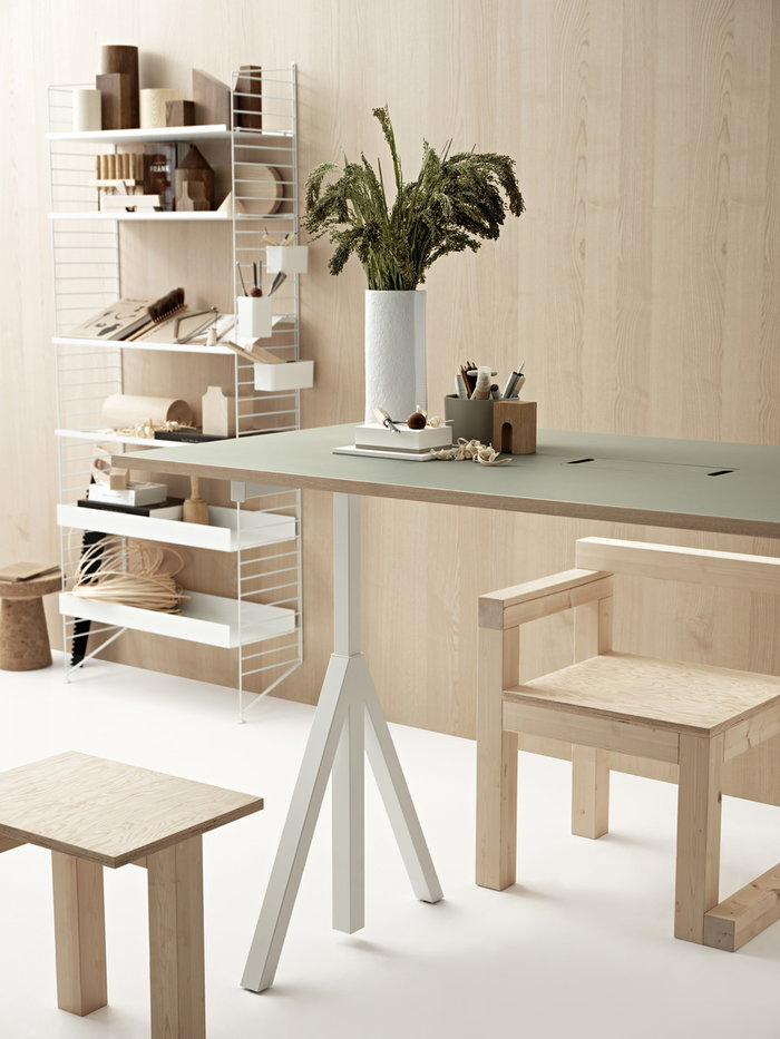 Office Storage Vitra String Furniture Nature White Cork Steel Metal String System