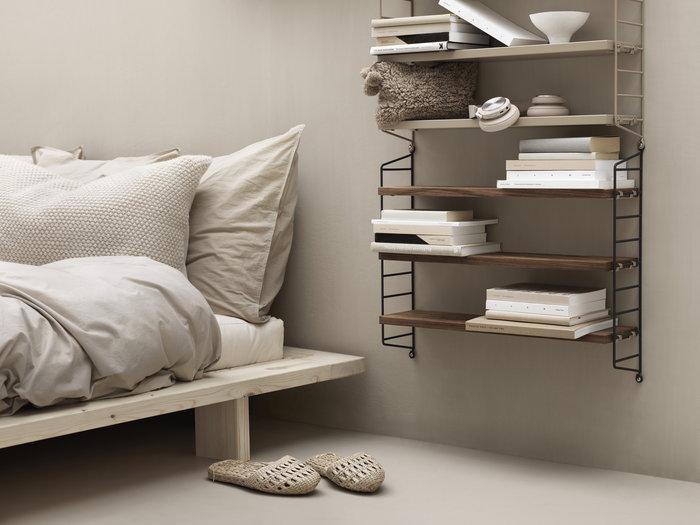 Storage Bedroom String Furniture Nature Beige Walnut Metal String Pocket