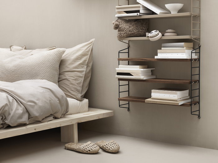 Gestionespazio Cameradaletto String Furniture Naturale Beige Noce Metallo String Pocket