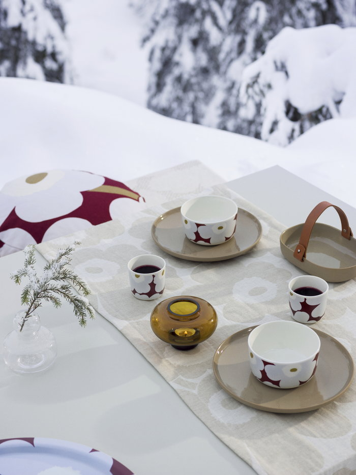 Tablesetting Holidays Marimekko Clear Multi colour Brown Beige Glass Cotton Ceramic Oiva