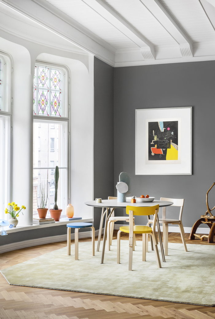 Diningroom Graphic Art Artek Vitra Iittala Katriina Nuutinen Art Partners Finland &Tradition Valerie Objects Woud Wästberg Blue Nature Yellow Multi colour White Orange Beige Birch Ceramic Glass Paper Wool Stainless Steel Wood Aluminium Aalto stools Aalto chairs