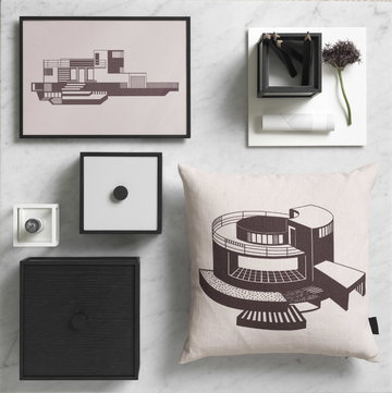 Sisustusyksityiskohta By Lassen Valkoinen Musta Alumiini Saarni Kubus Illustrate Frame