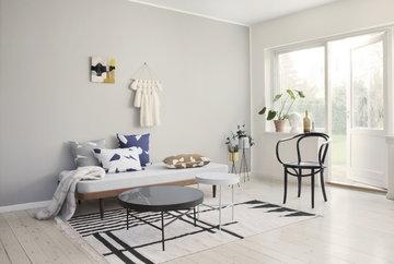 Olohuoneet Kesäkoti Ferm Living Messinki Musta Valkoinen Villa Marmori Kelim