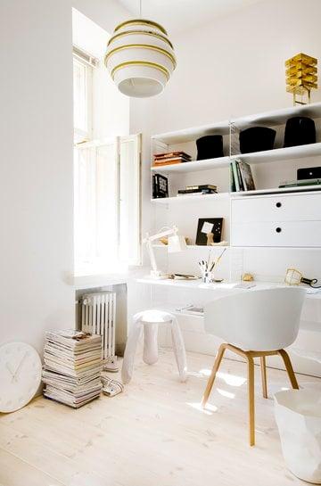 Työpisteet String Artek David Design Design House Stockholm Hay Valkoinen Kulta Teräs Alumiini String System Aalto valaisimet Work Lamp About a Chair
