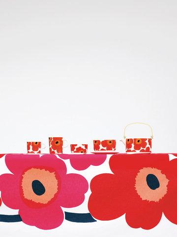 Kattaus Marimekko Punainen Valkoinen Puuvilla Keramiikka Unikko Oiva