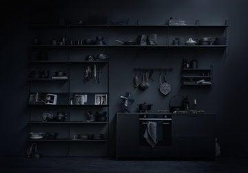 Keittiö Säilytys Sisustusideat String Furniture Musta Teräs Saarni String System String Pocket