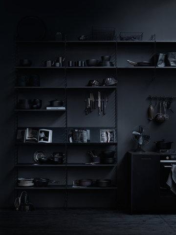 Keittiö Säilytys Sisustusideat String Furniture Musta Teräs Saarni String System
