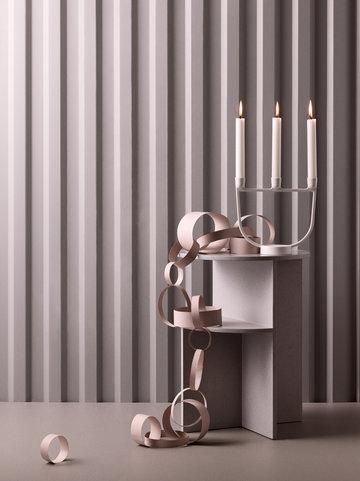 Natale Candele Muuto Bianco Grigio Alluminio Composito