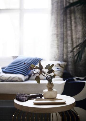 Marimekko Beige Marrone Naturale Blu Vetro Legno Cotone Oiva Tasaraita