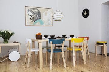 Ruokailutilat Artek Valkoinen Musta Keltainen Vihreä Oranssi Turkoosi Luonnonväri Koivu Alumiini Aalto tarjoiluvaunut Aalto jakkarat Aalto tuolit Aalto pöydät Aalto valaisimet