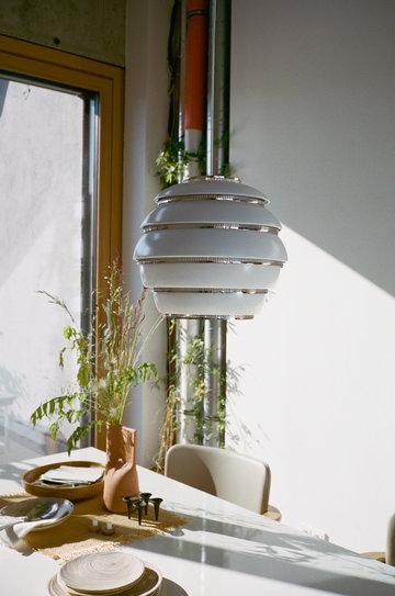 Saledapranzo Artek Bianco Alluminio Lampade Aalto
