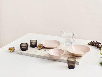 Tavola Iittala Trasparente Rosa Marrone Vetro Ceramica Aino Aalto Teema Kartio
