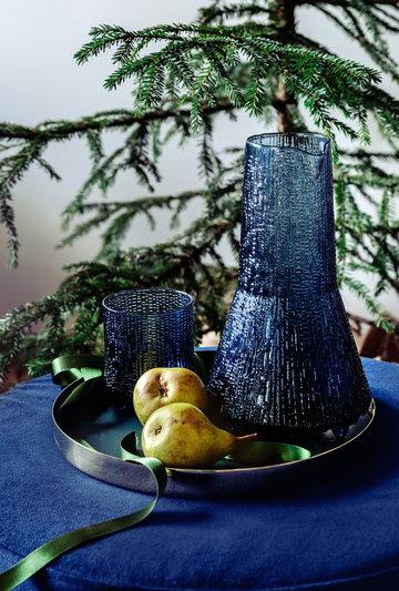 Tablesetting Christmas Hakola Iittala Skultuna Blue Brass Glass Ultima Thule