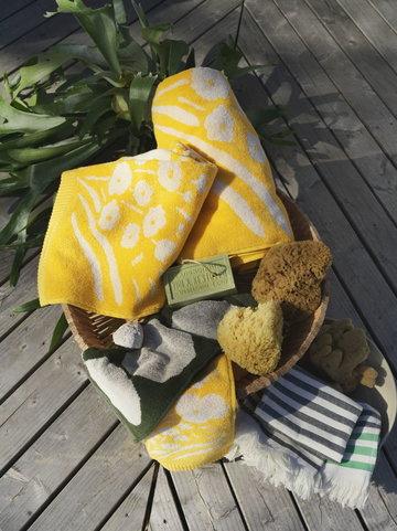 Kylpyhuone Marimekko Monivärinen Keltainen Vihreä Puuvilla Tasaraita Kivet