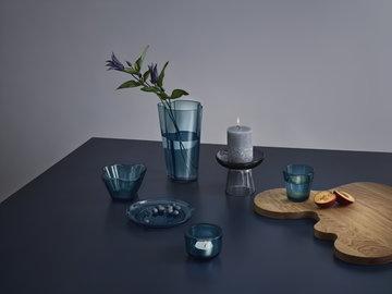 Kattaus Iittala Harmaa Sininen Luonnonväri Lasi Tammi Nappula Kastehelmi Aalto Collection
