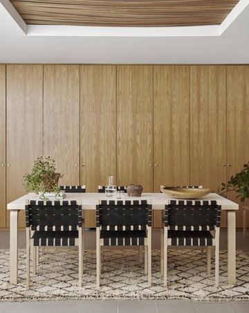 Ruokailutilat Artek Musta Valkoinen Koivu Aalto pöydät