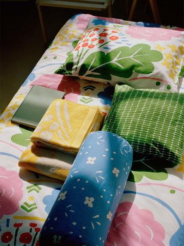 Makuuhuone Marimekko Sininen Monivärinen Keltainen Vihreä Puuvilla