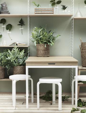 Työpisteet Viherkasvit Artek String Furniture Valkoinen Luonnonväri Koivu Teräs Tammi Aalto jakkarat String System