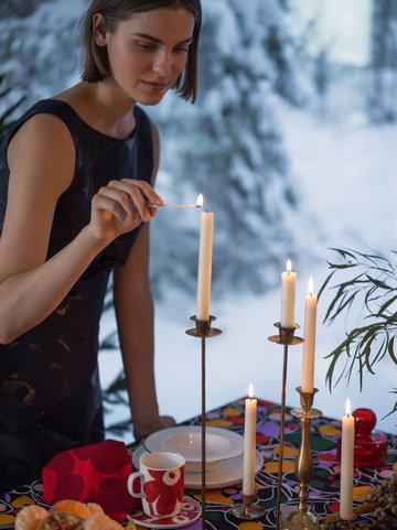 Kattaus Joulu Kynttilät Marimekko Punainen Musta Keramiikka Puuvilla