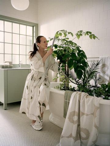Kylpyhuone Marimekko Beige Valkoinen Mintunvihreä Puuvilla Pellava