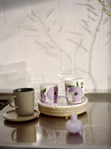 Tablesetting Marimekko Purple Brown Glass Ceramic