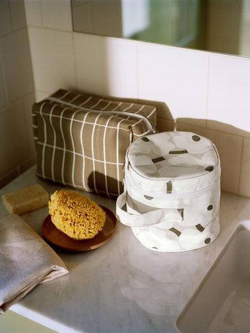 Kylpyhuone Marimekko Ruskea Mintunvihreä Keramiikka Puuvilla
