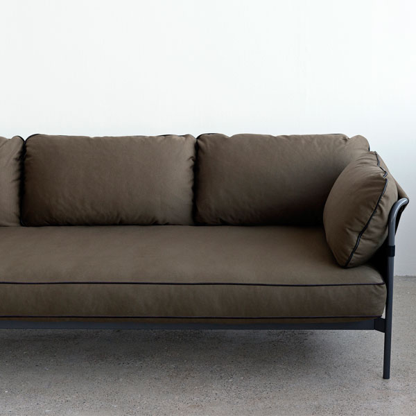 Can Sofa 3 Seater, Black Grey Frame, Army Canvas